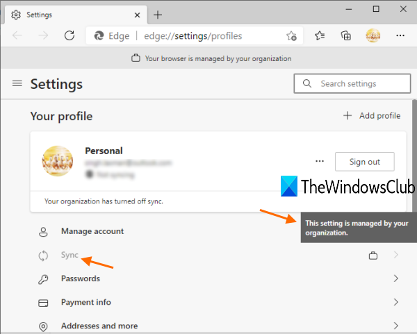 How to enable or disable sync for all profiles in Microsoft Edge using Registry