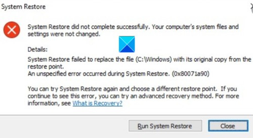 System Restore did not complete successfully, Error Code 0x80071a90