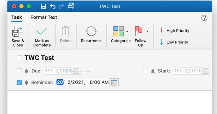 How to turn off Outlook reminder and reminder sound on Mac