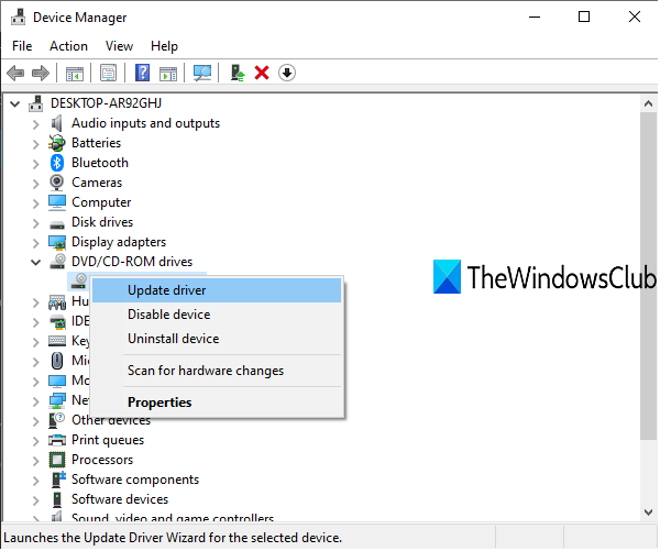 update dvd cd-rom drives using device manager