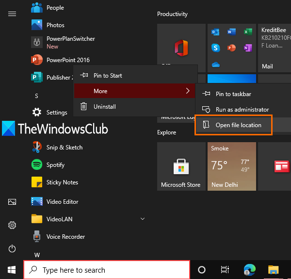 use start menu to find installation location of a tool