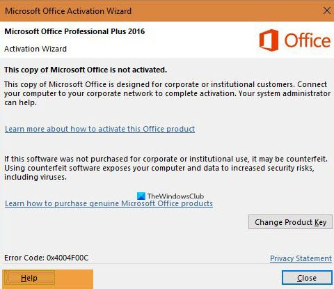Microsoft Office Activation Error 0x4004F00C