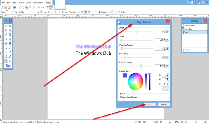 How to add a Drop Shadow effect to an image using Paint.net