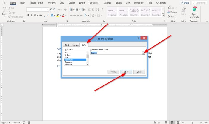create, insert and move a Bookmark in Word