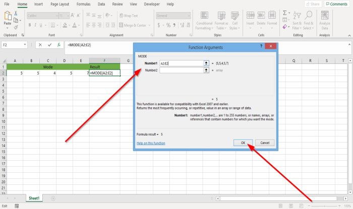 How to use the Mode function in Excel