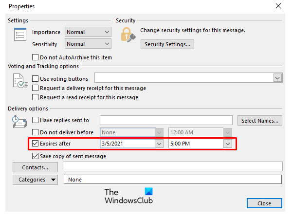 Add expiration Date to Emails in Outlook