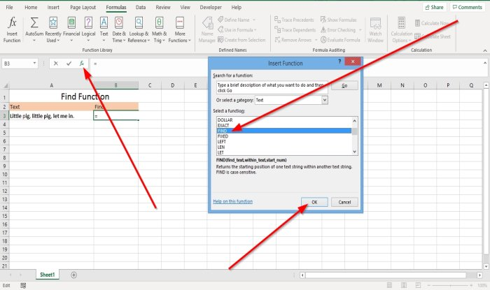 Find and FindB functions in Microsoft Excel