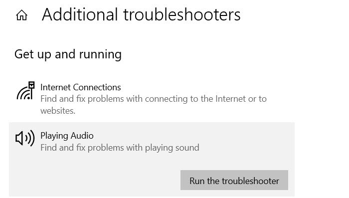Audio Troubleshooters Windows
