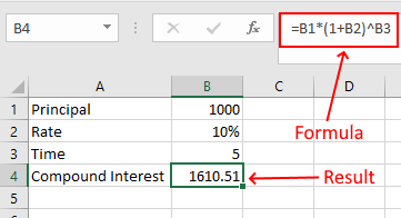 Calculate Compound Interest Anually in Excel