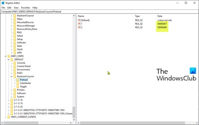 Can't remove a Keyboard layout - Registry Editor