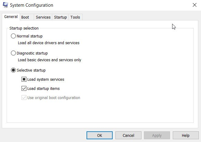 Change Startup Behaviour with msconfig
