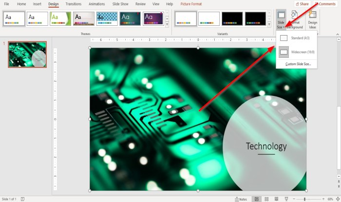 change the Slide size and orientation in PowerPoint