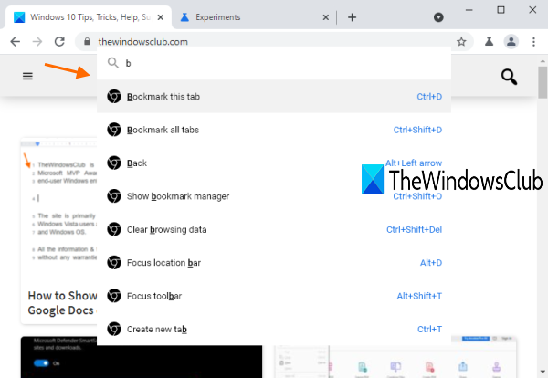 Commander feature in Chrome