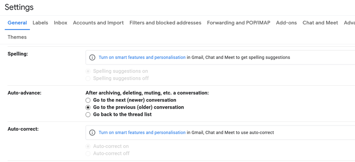 Setting the auto-advance feature in Gmail