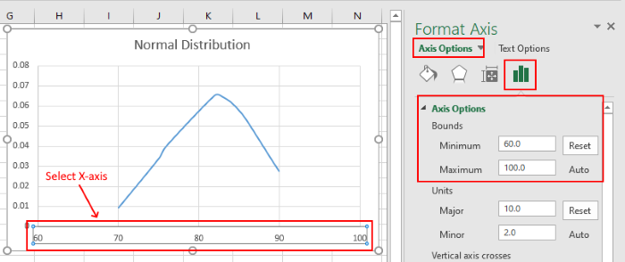 Create Bell Curve Excel graph 2