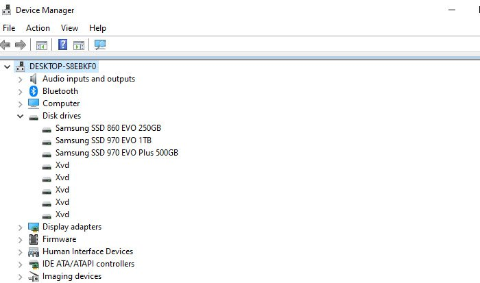 Device Manager Disk Drives Type