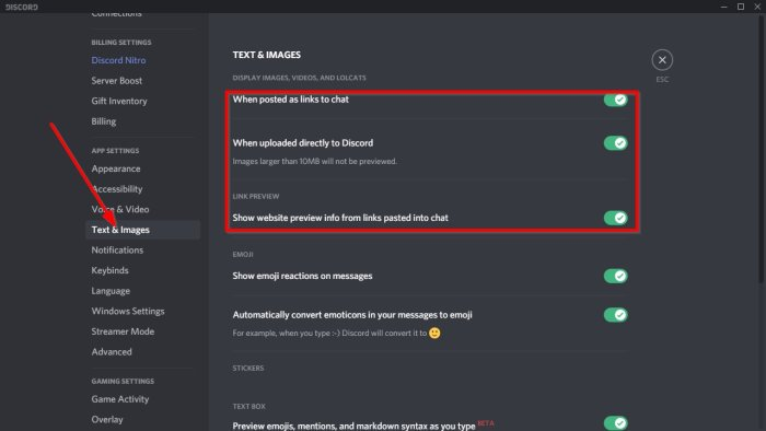disable Auto-embed Link preview in Discord