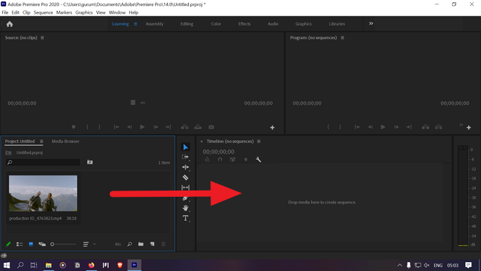 Adding the video to timeline