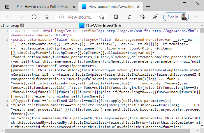 Enable Line Wrap in Source View in Edge and Chrome