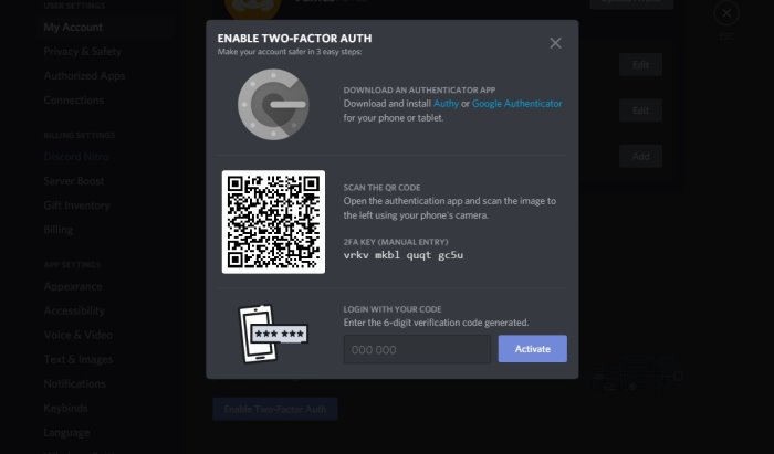 enable Two-Factor Authentication in Discord