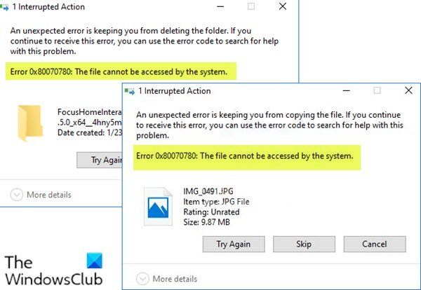 Error 0x80070780 - The file cannot be accessed by the system
