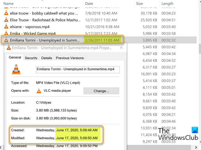 Files showing wrong dates in File Explorer