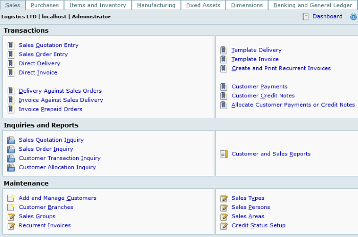 Free Logistics Software for Windows FrontAccounting ERP