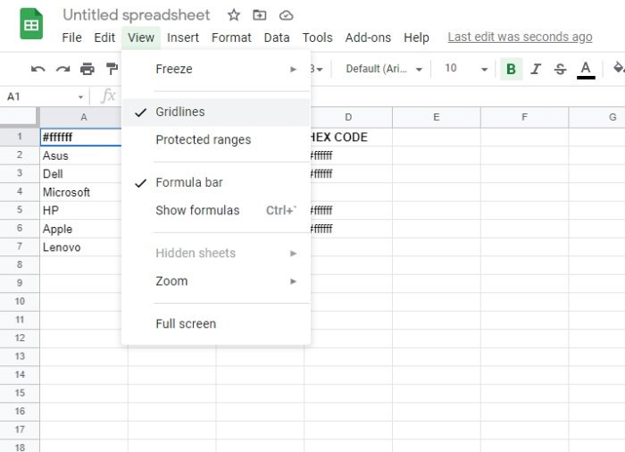 Remove gridlines from Google Sheet