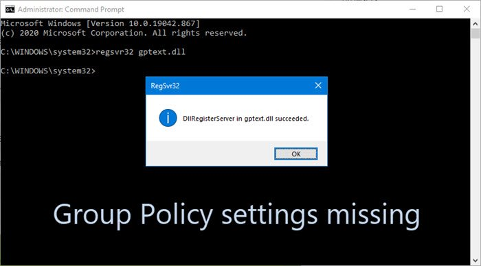 Group Policy settings missing