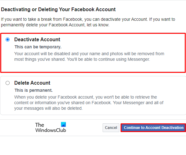 How to Deactivate Facebook Account but Keep Messenger