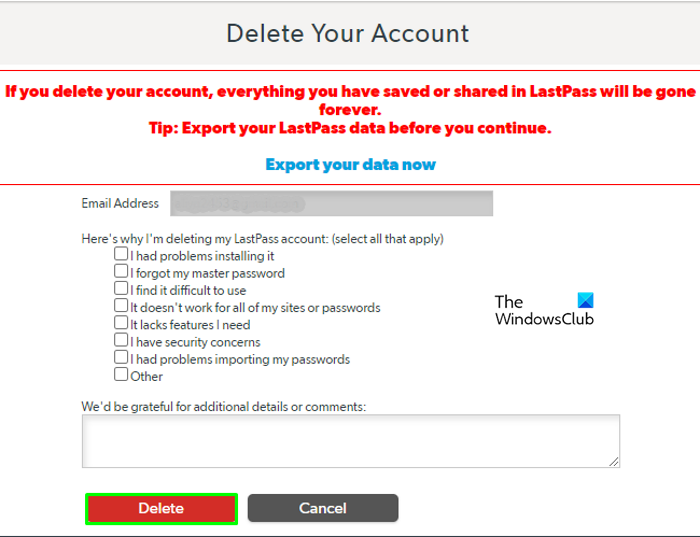 How to Delete LastPass account without password final details