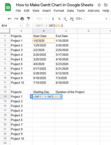 How to Make Gantt Chart in Google Sheets Step 3