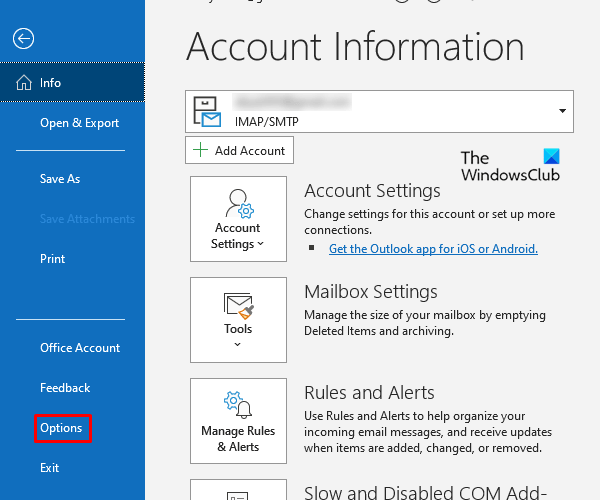 How to set up read receipt in outlook inside file