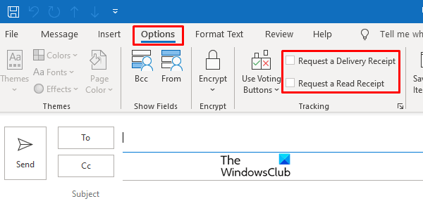 How to set up read receipt in outlook inside options