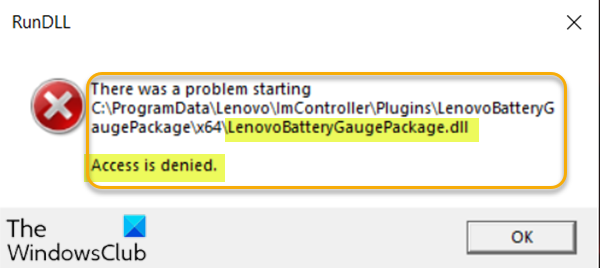 LenovoBatteryGaugePackage.dll access is denied, missing or not found errors