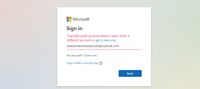 The Microsoft account you entered does not exist