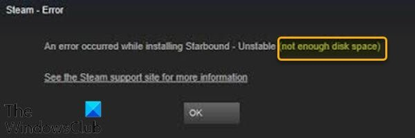 Not enough disk space - Steam error