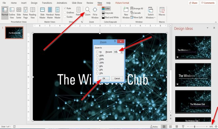 How to change the default Zoom level in PowerPoint