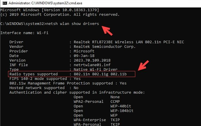 How to check if a Windows Laptop supports 2.4 or 5 GHz