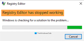 Registry Editor has stopped working