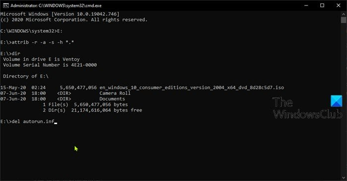 Remove virus from USB Flash Drive using Command Prompt or Batch File
