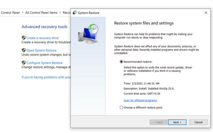 Restore Windows 10 with System Restore