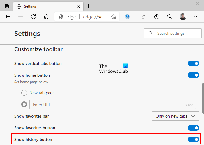 Show or Hide History button on Toolbar in Microsoft Edge
