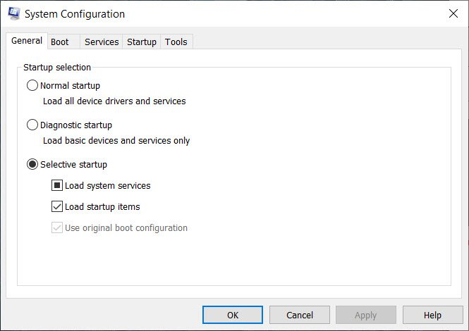 Selective Startup mode in Windows 10