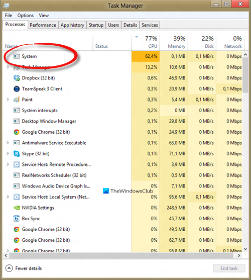 System process High Disk or CPU usage