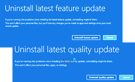 Uninstall latest Quality Update or Feature Update