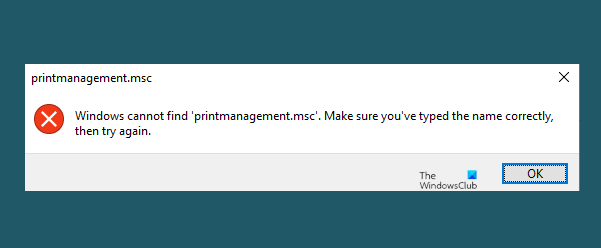 Windows cannot find printmanagement.msc