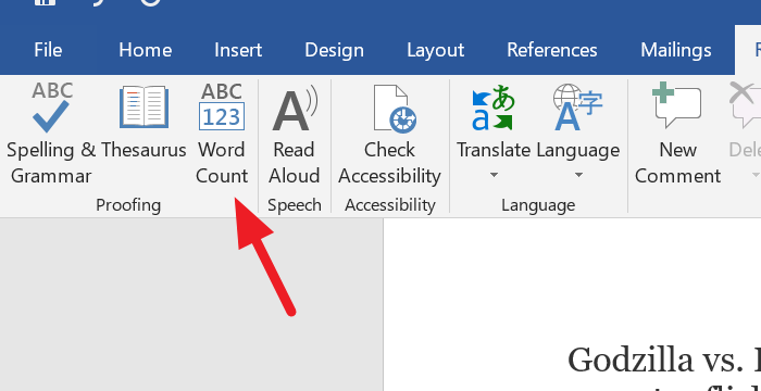Word Count button in Proofing section