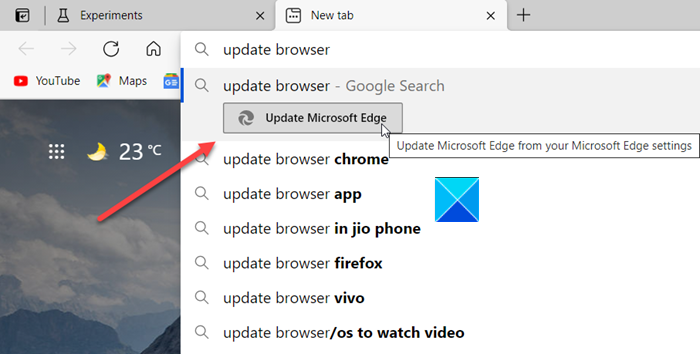 Enable Address Bar Quick Actions in Microsoft Edge
