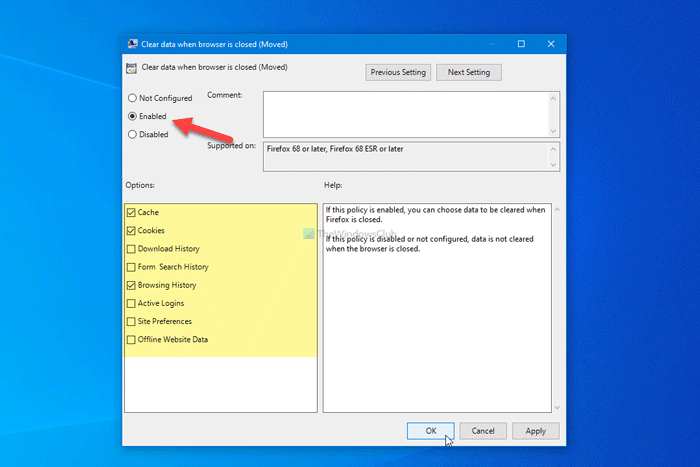 How to automatically delete selected browsing data when Firefox closes